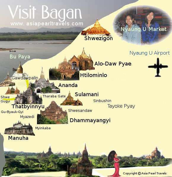Visit Bagan Nyaung U Mt Poppa Pakkoku Yangon Mandalay – Myanmar Travel Map